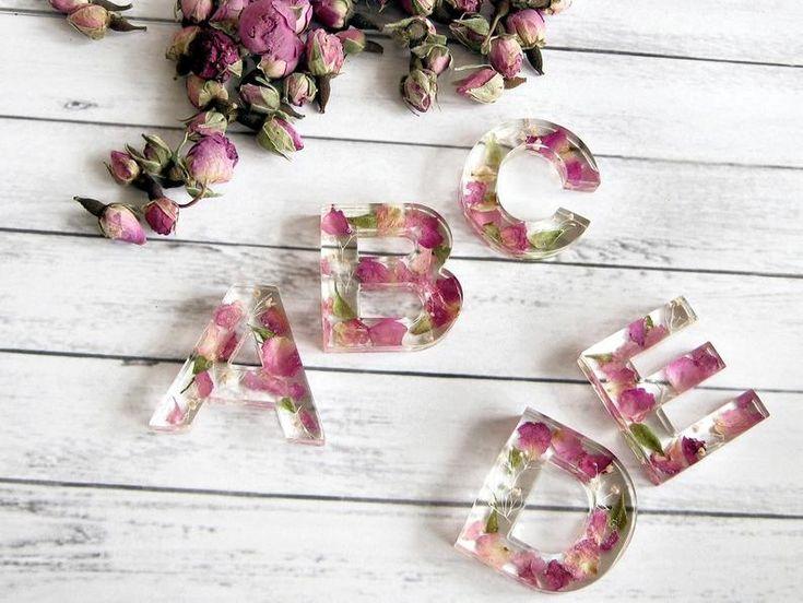 Pendant Letter Alphabet, Real Flower Jewelry, Rose Petals Initial Necklace, Resin Pendant, Bridesmaid Gift, Unique Custom Letter Necklace