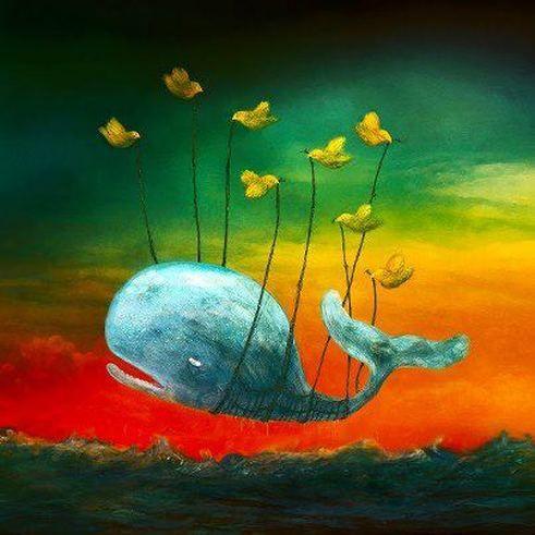 walvis die word opgetild door vogels