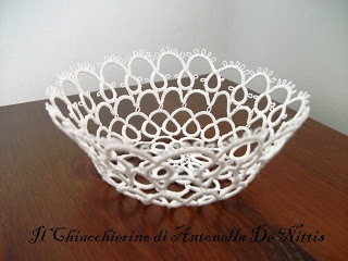 The Tatting Antonella De Nittis: Pattern simple doily 1 - basket frivolité