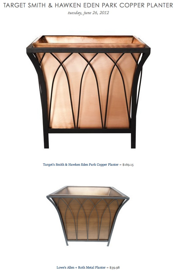 TARGET SMITH & HAWKEN EDEN PARK COPPER PLANTER vs LOWE'S ALLEN + ROTH METAL  PLANTER - 17 Best Images About Smith & Hawken On Pinterest Nests, Water
