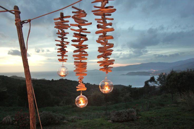 Trio de photophores suspendus bois flotté : Luminaires par latitude42-02