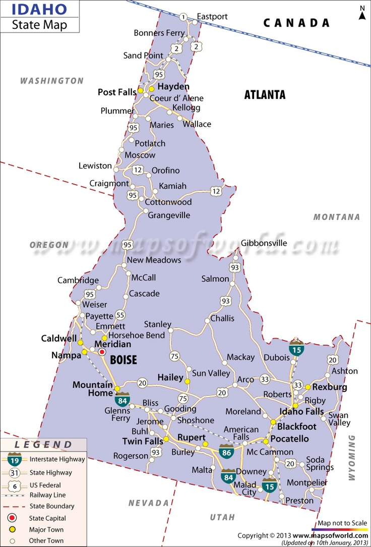 Best US States Images On Pinterest State Map Cities And Road - Idaho on a us map