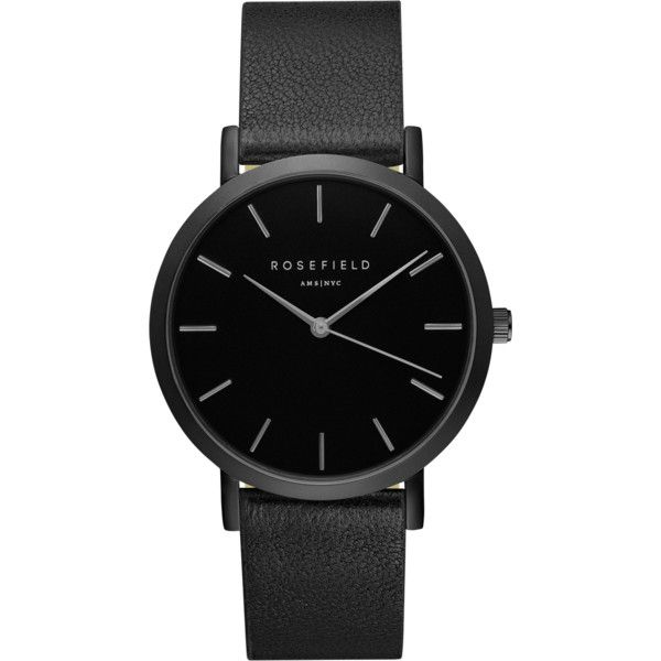 Black Nolita ladies watch - black stitchless strap | ROSEFIELD Watches ($99) ❤ liked on Polyvore featuring jewelry, watches and nolita