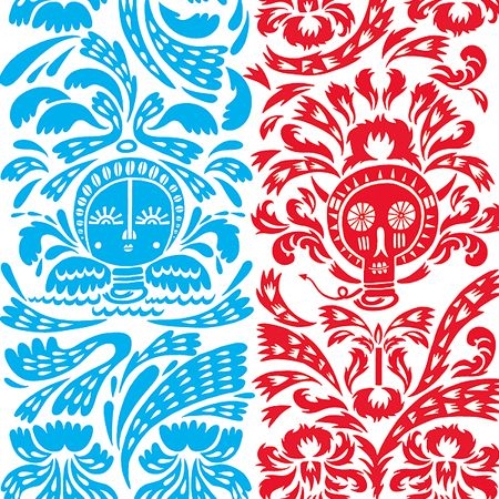 Vibrant blue and red pattern artwork by Beck Wheeler.