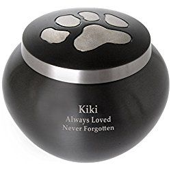 Custom Dog Cremation Personalized Brass Urn With Silver Paw Prints, Small