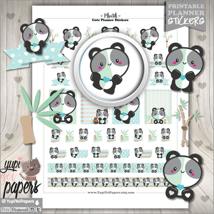 Panda Stickers, Planner Stickers, Printable Planner Stickers, Japan Stickers, Kawaii Stickers, Bamboo, Printable Stickers, Animal Stickers
