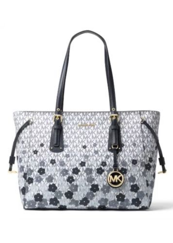 bee9d8150f0a0 Michael Kors Voyager MD Logo Floral Print Navy Admiral Top Zip Tote  MSRP  278.00