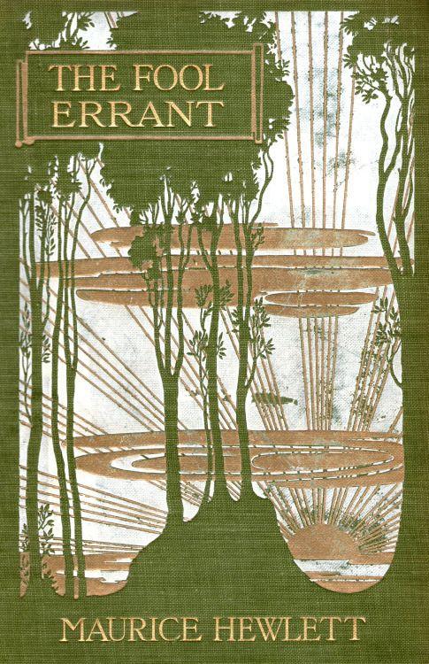 ~ The Fool Errant - Maurice Hewlett. unusual Art Nouveau influence book cover, 1905