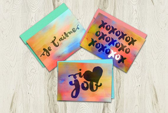 """Printable Card Bundle Set of 3 by Playful Pixie Studio.  A great way to say """"I love you"""", just print the card and leave your own personal message inside :) #iloveyou #greetingcard #printable"""