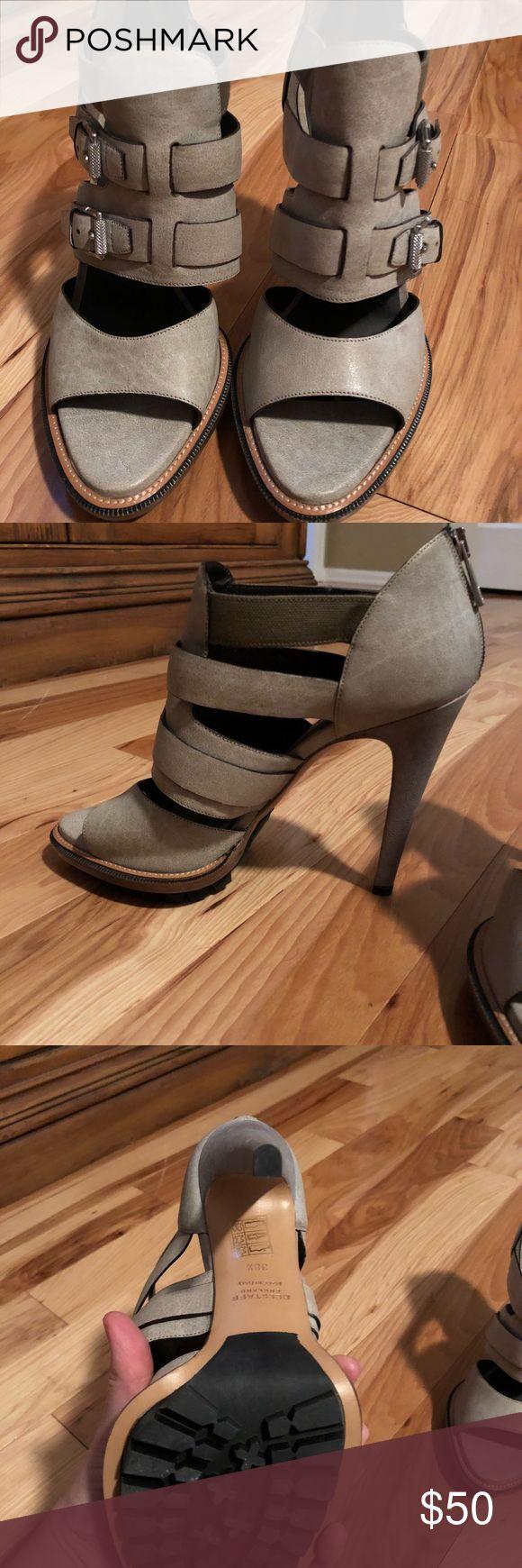 Beautiful Belstaf heels To die for! Never worn. Perfect beige/ taupe color with fantastic buckle detail. Zip-up heel Belstaff Shoes Heels