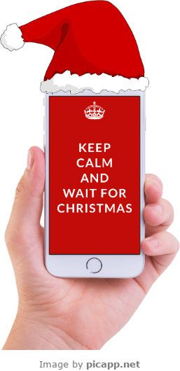 Keep calm and wait for Christmas! This beautiful image with a white iPhone 6 in hand in portrait position with a Santa's hat was created with an online tool, Picapp.net. Try it! Free Download.  #Christmas #frames #iphone #apple #picapp #iPhoneinhand #mockup