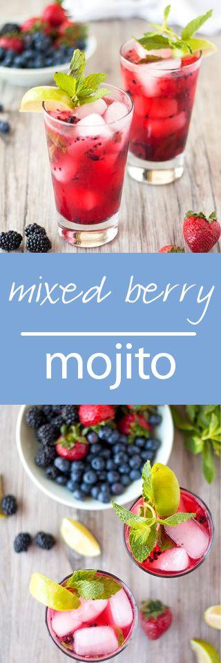 mixed berry mojitos   ahappyfooddance.com
