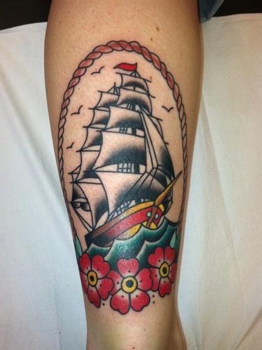 Tattoos. A good traditional ship is always fun. Full Circle Tattoo San Diego.