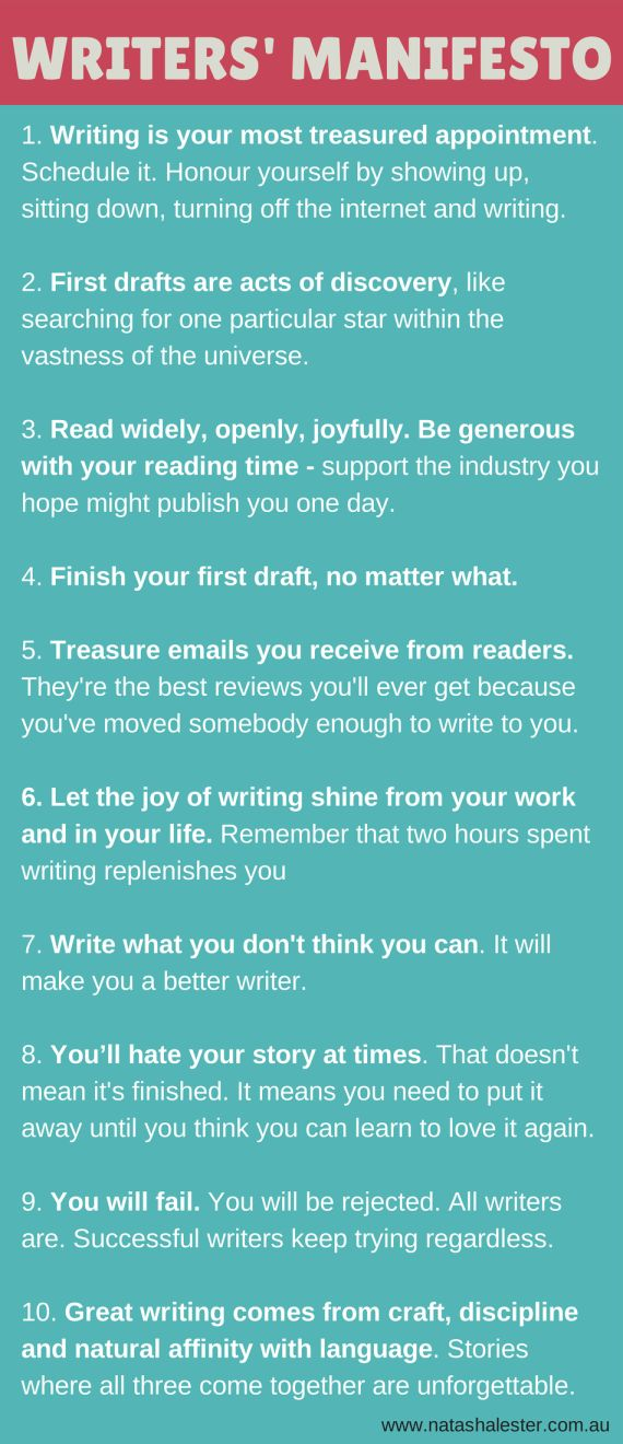 A Manifesto For Writers - to keep you motivated, inspired and enthusiastic about the act of writing. | www.natashalester.com.au
