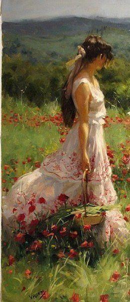 Vivre en Harmonie avec la nature, sous le soleil et dans les fleurs, une robe blanche en coton et des cheveux dans le vent, quoi de mieux .Vincent's Romero Redondo