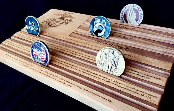 Marine's Riflemen Creed Military Challenge Coin Display