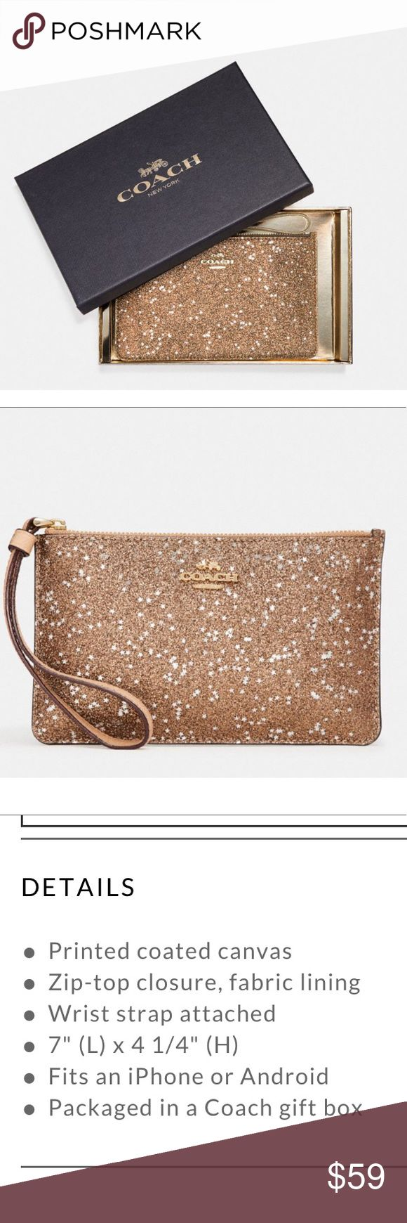 Coach wristlet with gift box Stunning Coach gold wristlet in gift box ready for giving!! See last pic for description Coach Bags Clutches & Wristlets