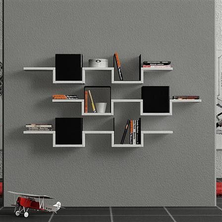 3 tier floating bookcase, wall shelving unit...white red black quality luxury bookshelf by unique designer DECORTIE ALES Best discounted cheap deals in the UK