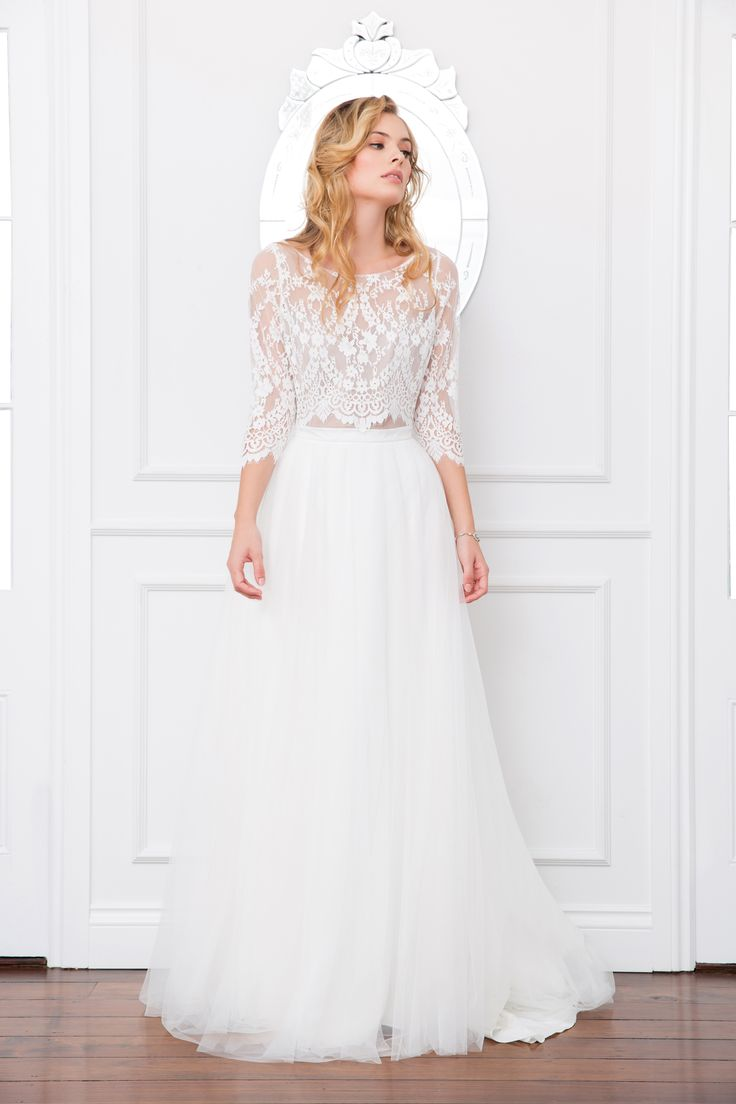 Samara bodice and lilah skirt lace top bridal for Wedding dresses with tulle skirts