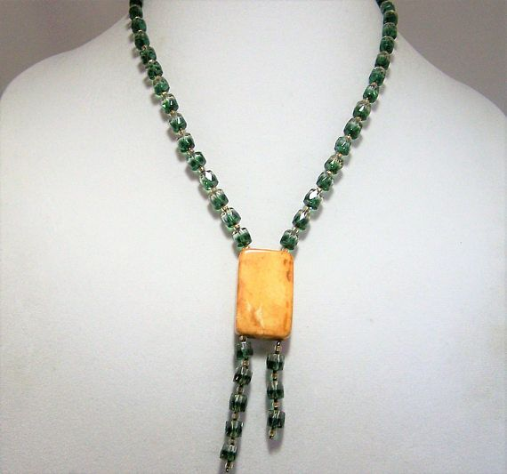 Handmade art glass bead necklace Transparent glass beads are half crystal and half emerald green Rectangular resin (may be polished stone) attached pendant  20 inches long,... #gotvintage