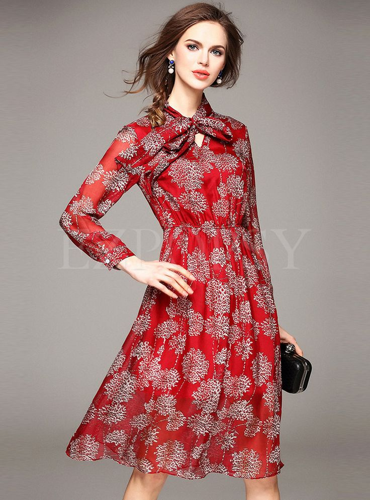 Shop for high quality Long Sleeve Print Waist Midi Dress online at cheap prices and discover fashion at Ezpopsy.com