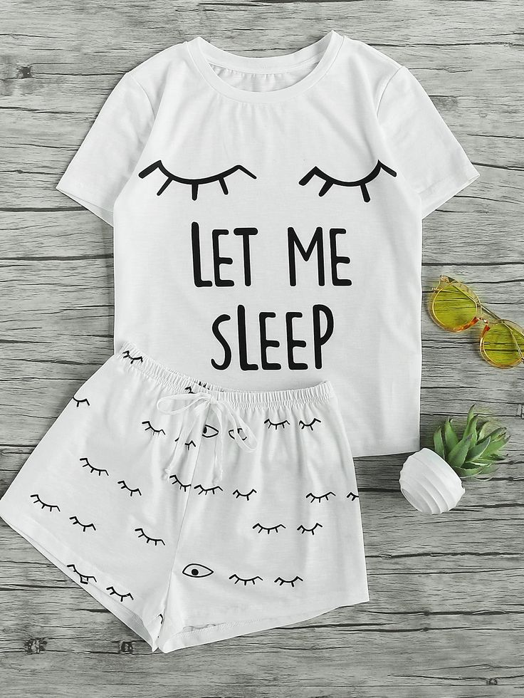 Closed Eyes Print Tee And Shorts Pajama Set $17.00