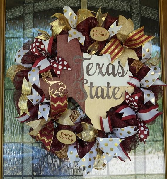 Texas State University Wreath Texas State by Texascaseyscreations