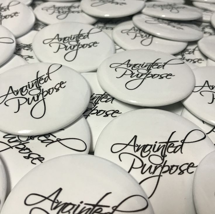 Custom Round Buttons for Anointed Purpose, a gospel group in Shelby, North Carolina. Contact us today to get your custom designs and promo merch! #bluecrater