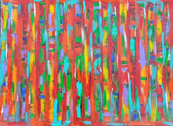 STRIPED 2 - Encaustic on paper by Leesa #paperart #art #encaustic #colourful #rainbow #painting #stripes #abstract