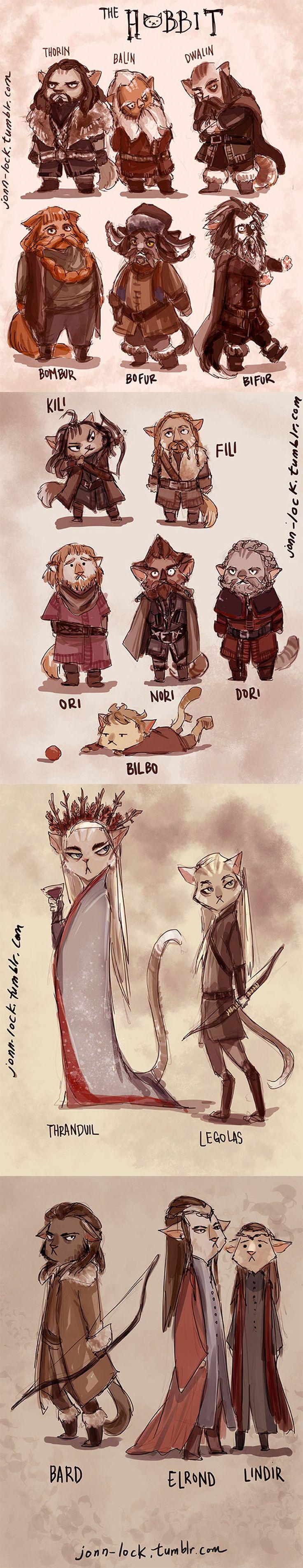 Cat Hobbits Cast by Jon-Lock kittens funny comedy cartoon novelty The Hobbit…