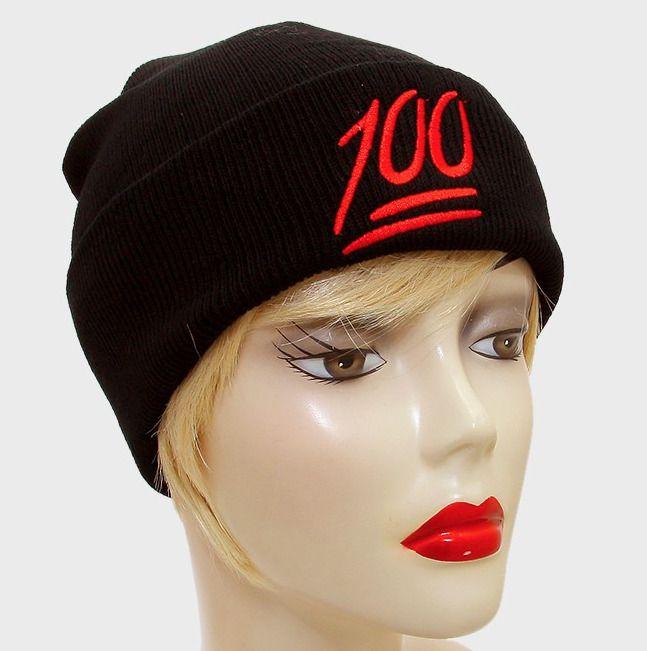 Unisex 100 Emoji Icon Fold Over Knit Beanie Fall Winter Hat #Unbranded #Beanie #FallWinter