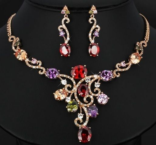 Set Necklace Jewelry Women Crystal Wedding Luxurious Fashion Pendant Earrings  #Unbranded