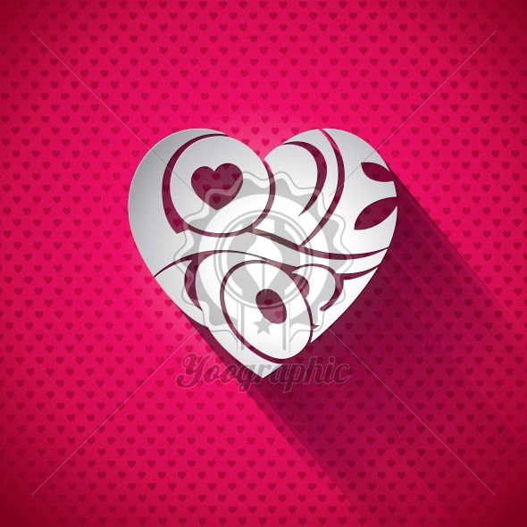 Vector Valentines Day illustration with 3d Love You typography design on heart background. - Royalty Free Vector Illustration