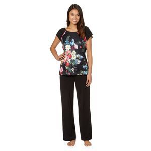 B By Ted Baker Black Floral Satin Front Jersey Pyjama T
