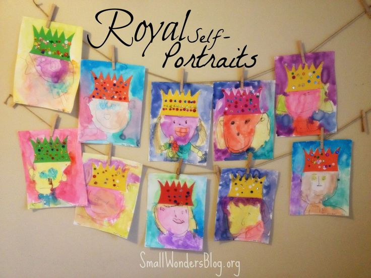 Royal self portraits inspired by Deep Space Sparkle. This fairy tale theme and other preschool projects found at smallwondersblog.org