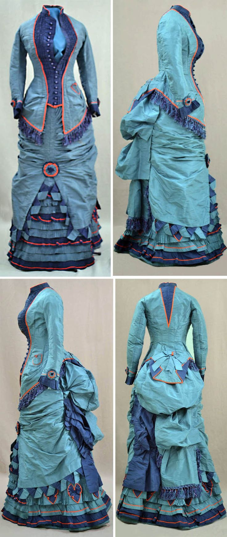 Two-piece dress, 1870. Pale blue silk. Bodice has button-down front with tiny dark blue crocheted buttons. Longer in back  pleated at side hips. Pleated pocket on side. Bustle skirt with draping and shirring. Slit up front to show ruffles and pleating of alternating shades of blue. Bright red silk trim around jacket, pocket, collar, sleeve edges,  ruffles. Fabric rosettes. Blue silk fringe at bodice  bustle. Towson Univ. Dep't of Theater Arts