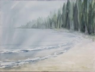 Foggy Morning Lakefront, 12x16 #watercolor, $125. This is another demo from one of my recent #painting workshops. #art