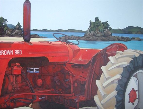Jane Puckey - A limited edition of 40, this Giclée reproduction from a painting of a tractor at the beach in New Zealand, achieves superb colour with pigment-based inks on acid-free 308gsm Hahnemuhle Rag paper suitable for museum or gallery display. Image size 500x388mm $750.00