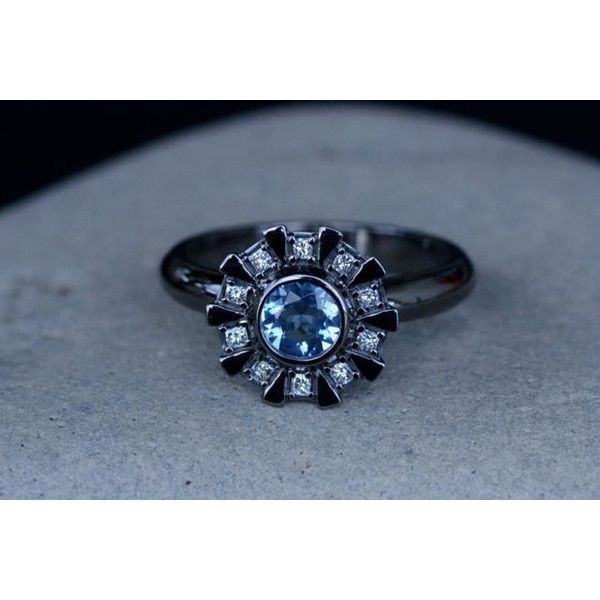 931efe03a64b Arc Reactor Inspired Engagement Ring 14K White Gold