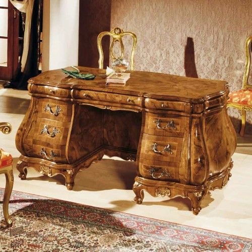 Mod BAROQUE desk in walnut-root, rosewood detail, polished and carved by hand. Dimensions cm: L. 160 D. 80 H. 80  Furniture designed exclusively by hand with fine wood and craftsmanship.