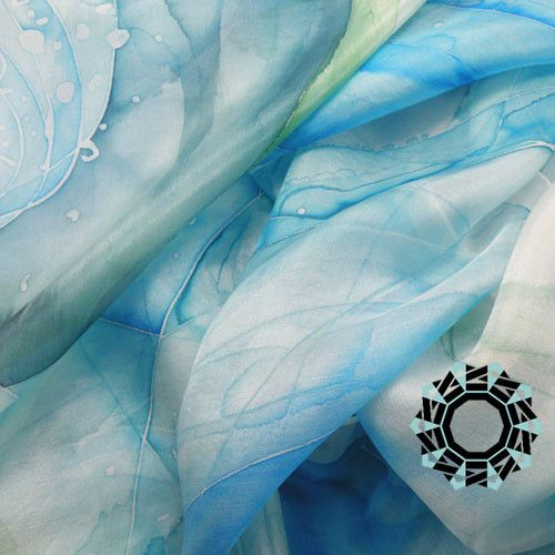 The clour of the Mediterranean Sea.. handpainted silk scarf from TenderDecember