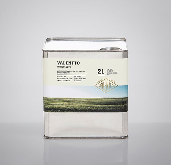 Logo and packaging with gold foil detail designed by Anagrama for olive oil brand Valentto