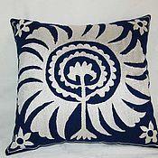 Купить Самаркандский цветочный узор шелковая наволочка ручной работы - комбинированный, шёлковая подушка, текстиль