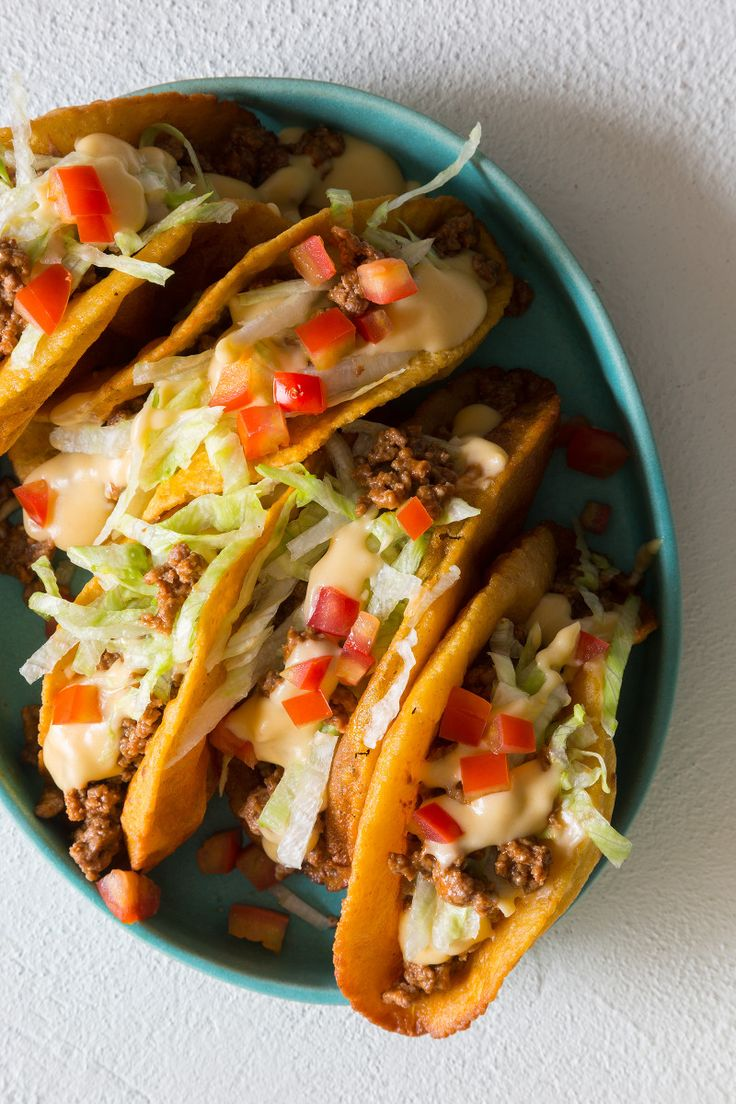 A recipe for Crunchy Ground Beef and Cheesy Tacos.