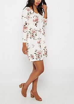 Ivory Pink Rose Soft Swing Dress | rue21
