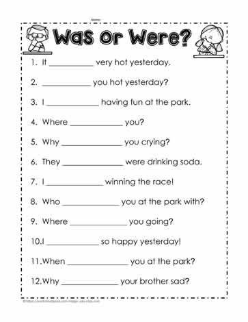 was vs were worksheet 1 kids english grammar worksheets english worksheets for kindergarten. Black Bedroom Furniture Sets. Home Design Ideas