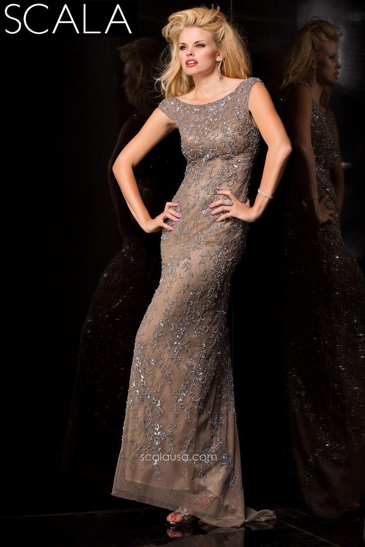 SCALA style 48449 Platinum. #Prom2K15 #Spring2015 #Prom2015 #Dress #Gown #PromDress www.scalausa.com