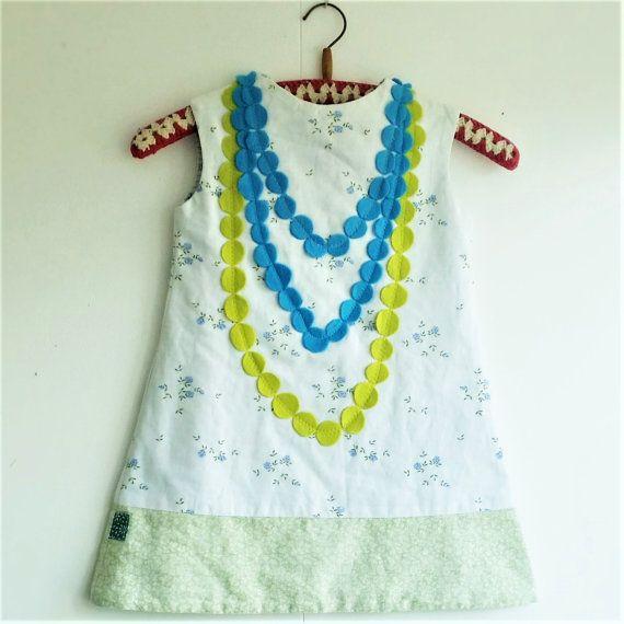 Girls dress, Girls Summer Dress, Girls White Dress, Cute Dress, Special Dress, Pearls, Green Dress, Flowered Dress, Mevrouw Hartman, https://www.etsy.com/shop/MevrouwHartman  http://www.mevrouwhartman.nl/