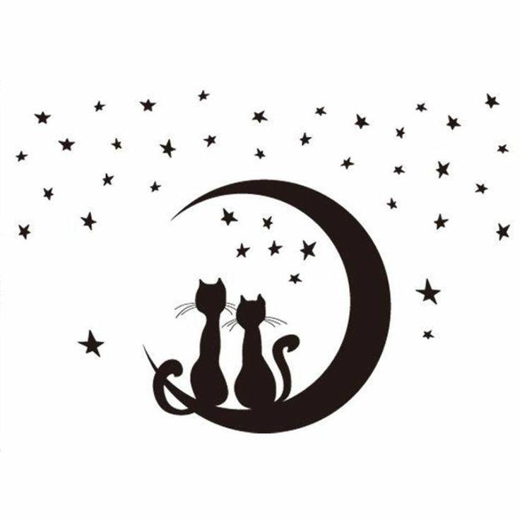cooles Wandtattoo Katzen am Mond