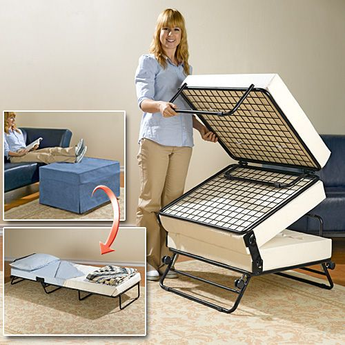 An Ottoman that Turns into a Guest Bed! That is AWESOME!  www.coolthings.com